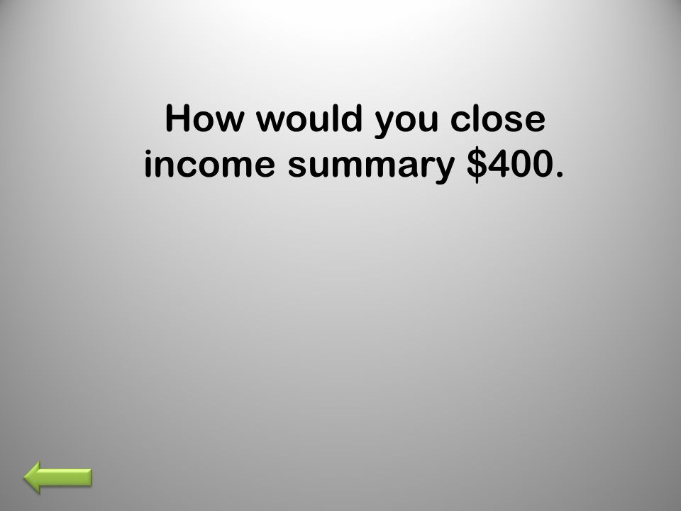 How would you close income summary $400.