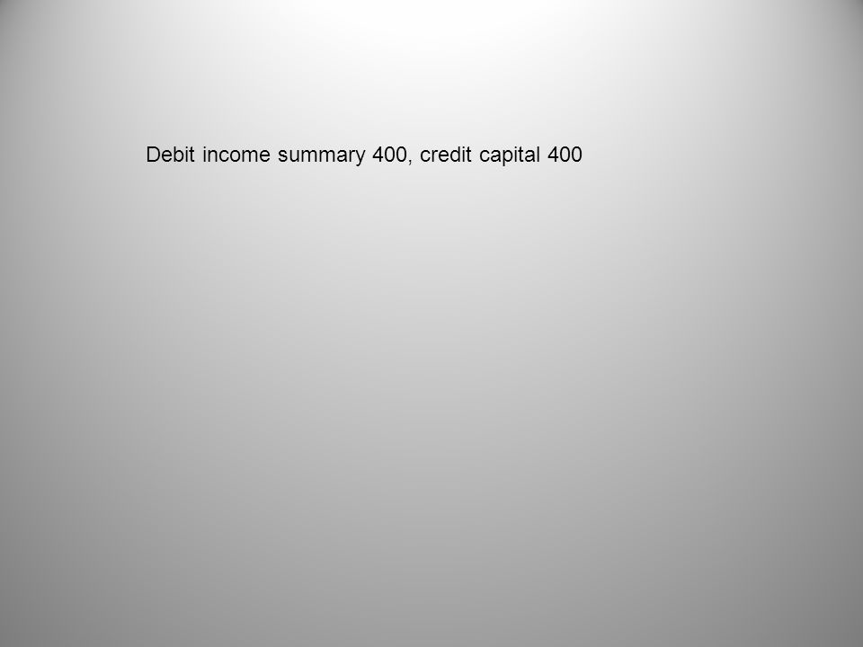Debit income summary 400, credit capital 400
