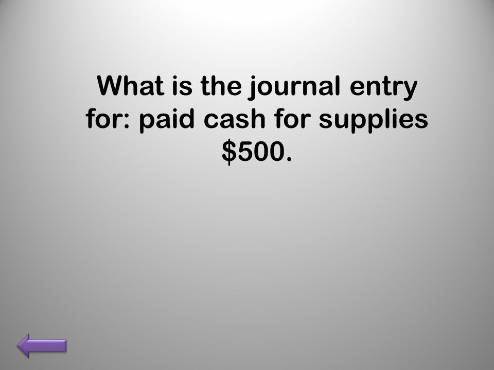 What is the journal entry for: paid cash for supplies $500.