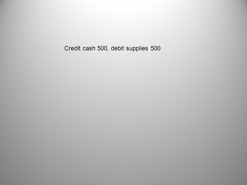 Credit cash 500, debit supplies 500