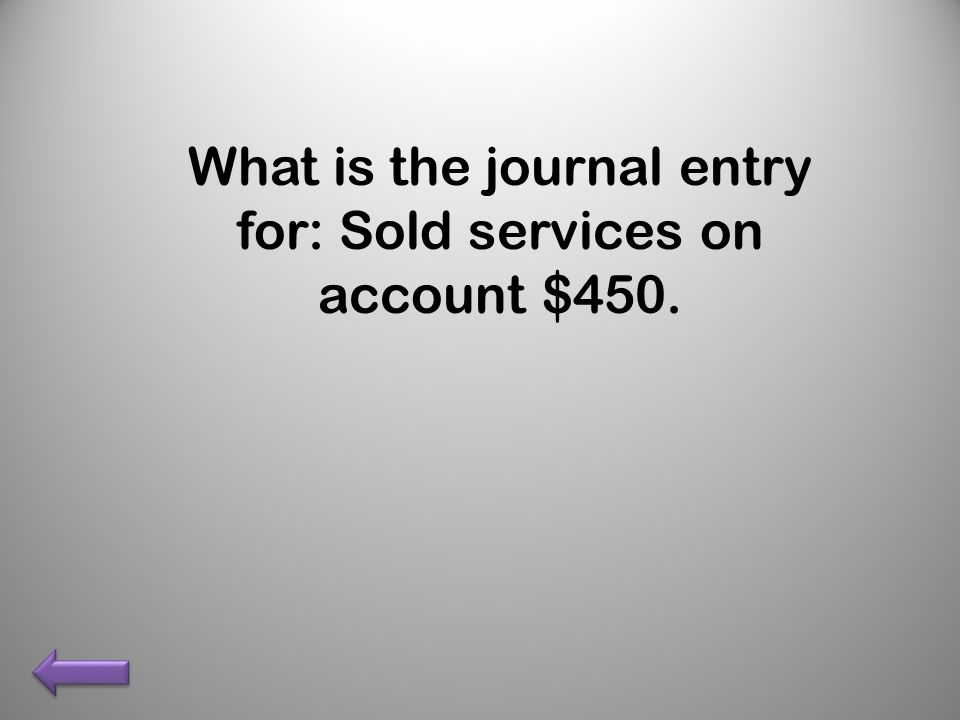 What is the journal entry for: Sold services on account $450.