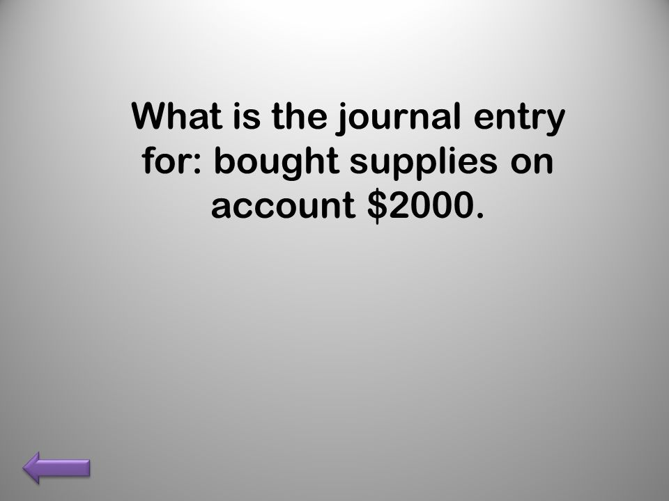 What is the journal entry for: bought supplies on account $2000.