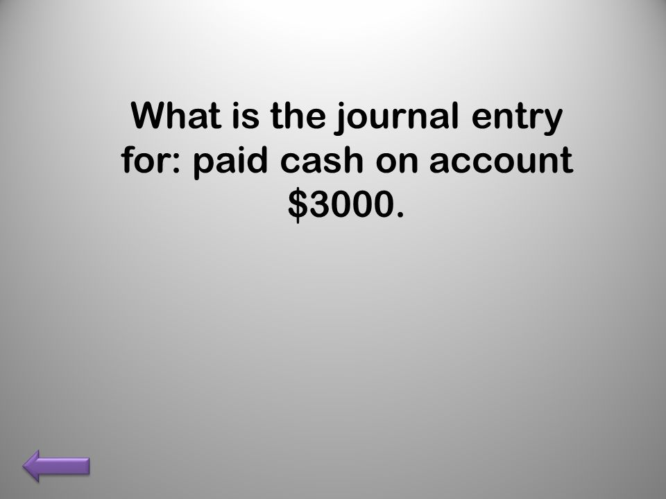 What is the journal entry for: paid cash on account $3000.