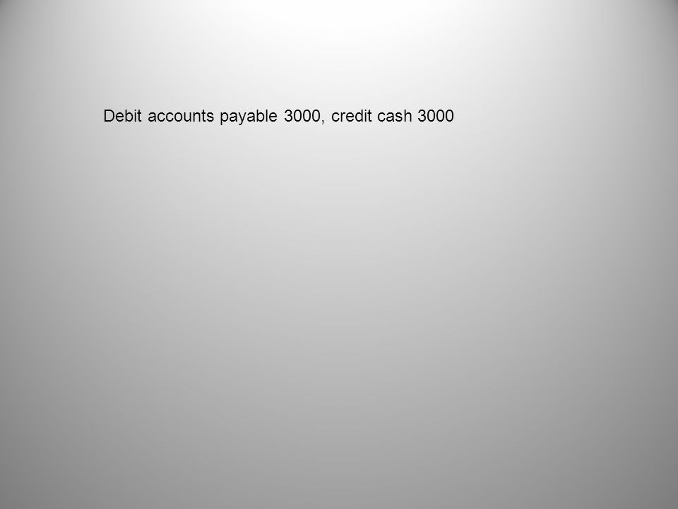 Debit accounts payable 3000, credit cash 3000