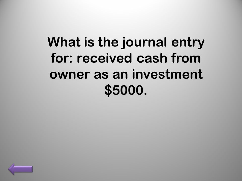 What is the journal entry for: received cash from owner as an investment $5000.