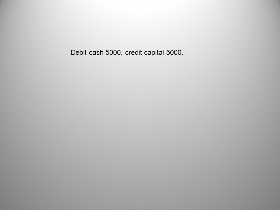 Debit cash 5000, credit capital 5000.