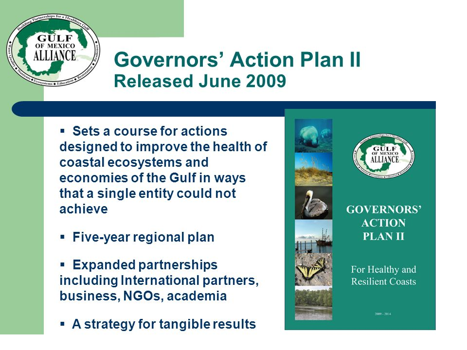 Governors' Action Plan II Released June 2009  Sets a course for actions designed to improve the health of coastal ecosystems and economies of the Gulf in ways that a single entity could not achieve  Five-year regional plan  Expanded partnerships including International partners, business, NGOs, academia  A strategy for tangible results