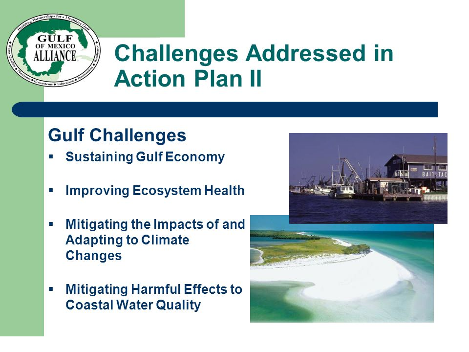 Challenges Addressed in Action Plan II Gulf Challenges  Sustaining Gulf Economy  Improving Ecosystem Health  Mitigating the Impacts of and Adapting to Climate Changes  Mitigating Harmful Effects to Coastal Water Quality