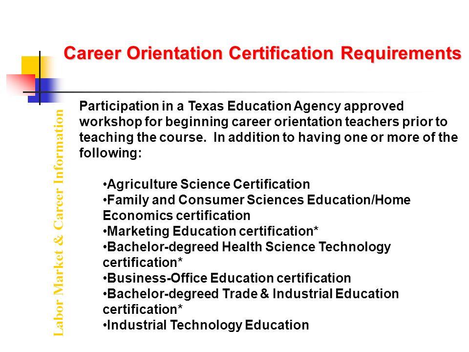 Texas Education Agency Labor Market Career Information Teacher