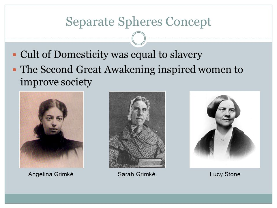 Separate Spheres Concept Cult of Domesticity was equal to slavery The Second Great Awakening inspired women to improve society Angelina GrimkéSarah GrimkéLucy Stone