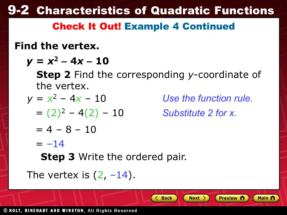 9 2 Characteristics Of Quadratic Functions Warm Up Warm Up
