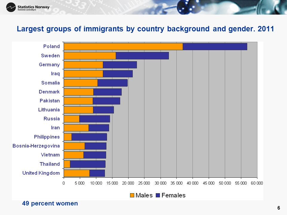 6 Largest groups of immigrants by country background and gender percent women