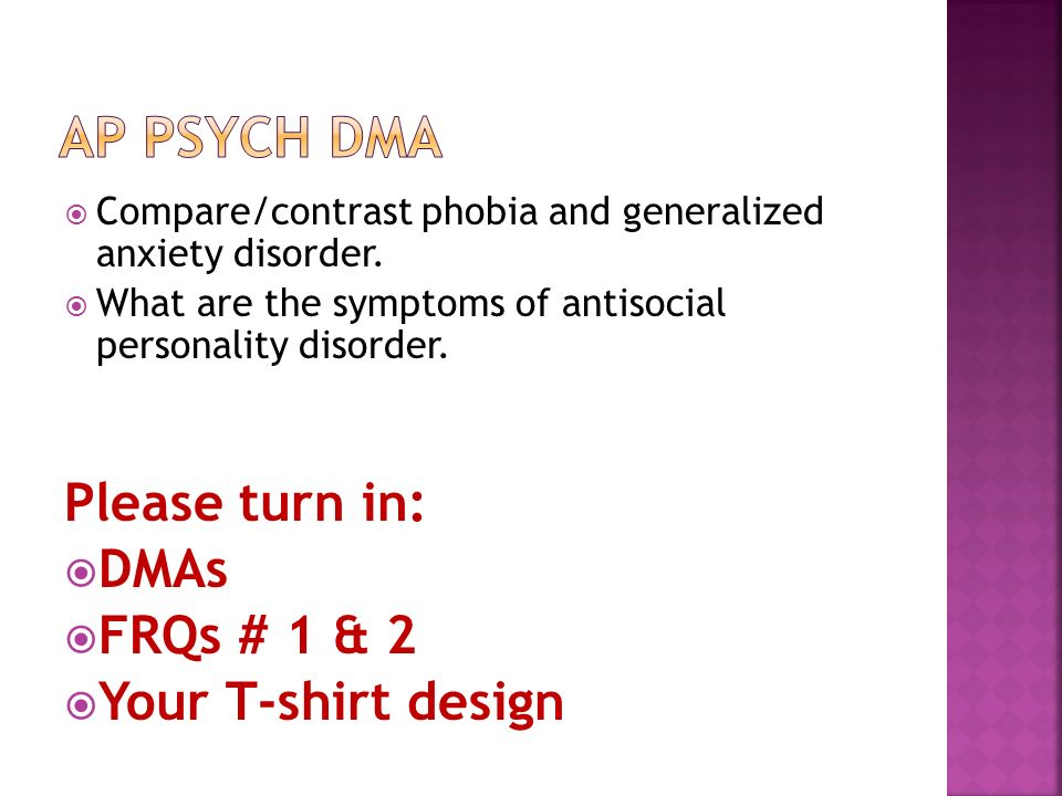  Compare/contrast phobia and generalized anxiety disorder.