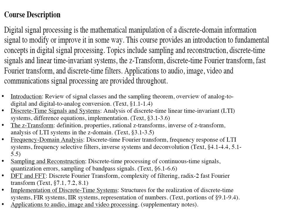 DIGITAL SIGNAL PROCESSING (DSP) VT (D3) VT (D4) VTxxxxxx (D4