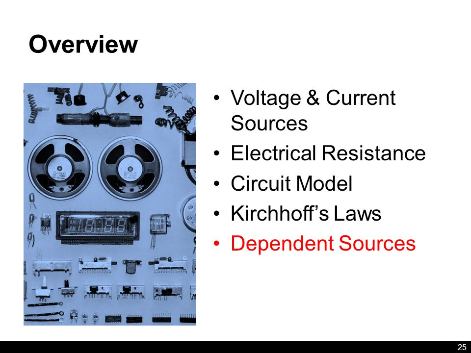 Overview Voltage & Current Sources Electrical Resistance Circuit Model Kirchhoff's Laws Dependent Sources 25