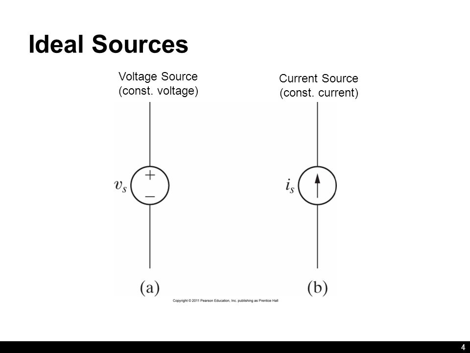 Ideal Sources 4 Voltage Source (const. voltage) Current Source (const. current)