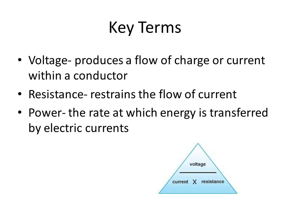 Key Terms Voltage- produces a flow of charge or current within a conductor Resistance- restrains the flow of current Power- the rate at which energy is transferred by electric currents