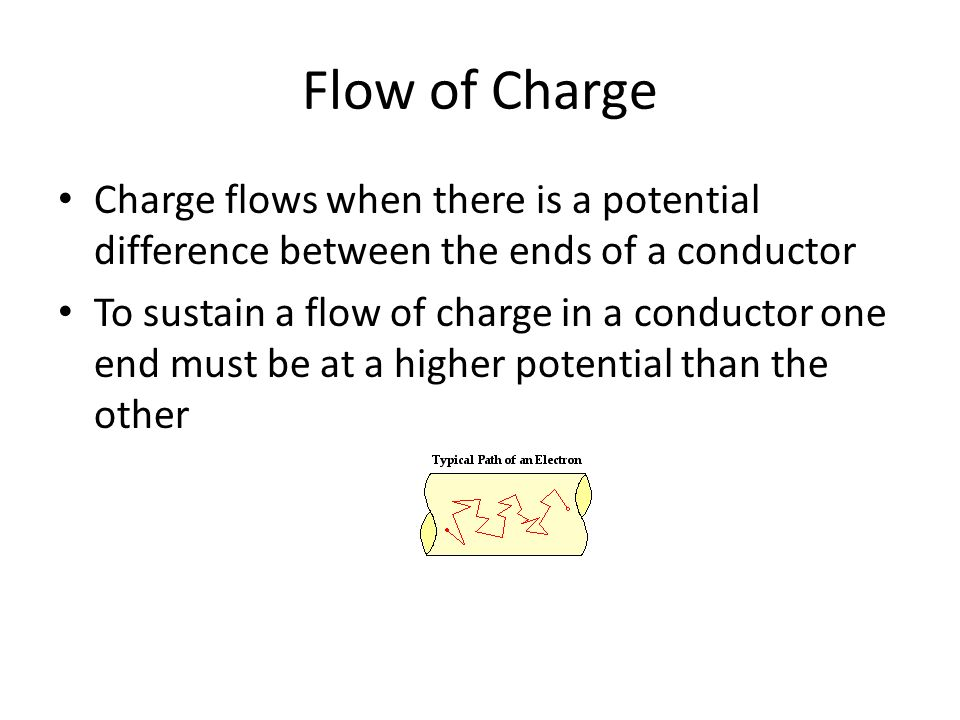 Flow of Charge Charge flows when there is a potential difference between the ends of a conductor To sustain a flow of charge in a conductor one end must be at a higher potential than the other