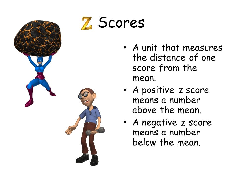Scores A unit that measures the distance of one score from the mean.