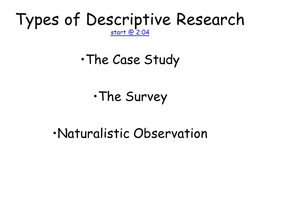 Types of Descriptive Research 2:04 2:04 The Case Study The Survey Naturalistic Observation