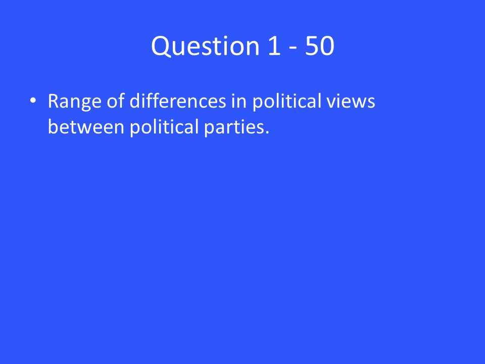Question Range of differences in political views between political parties.