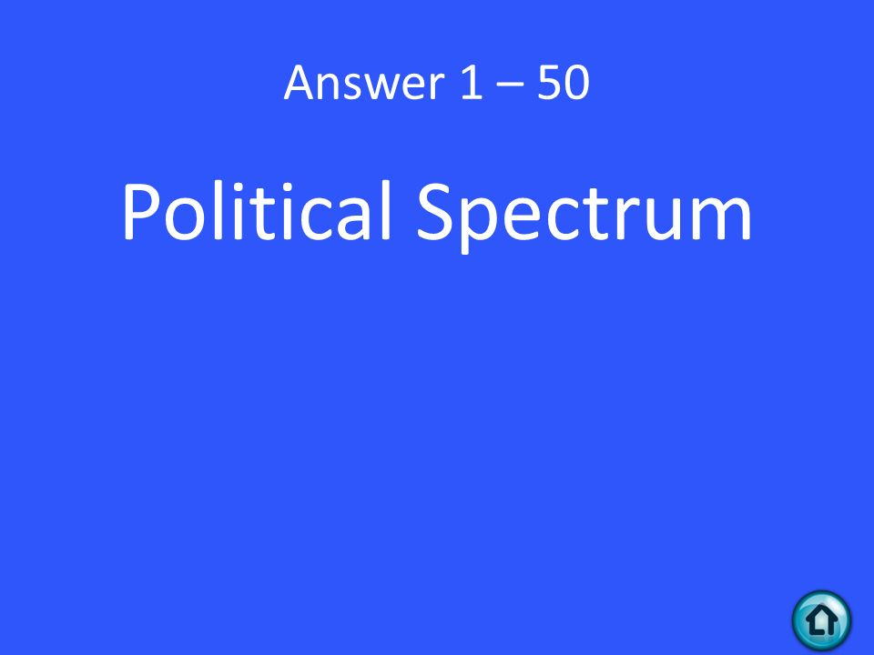 Answer 1 – 50 Political Spectrum
