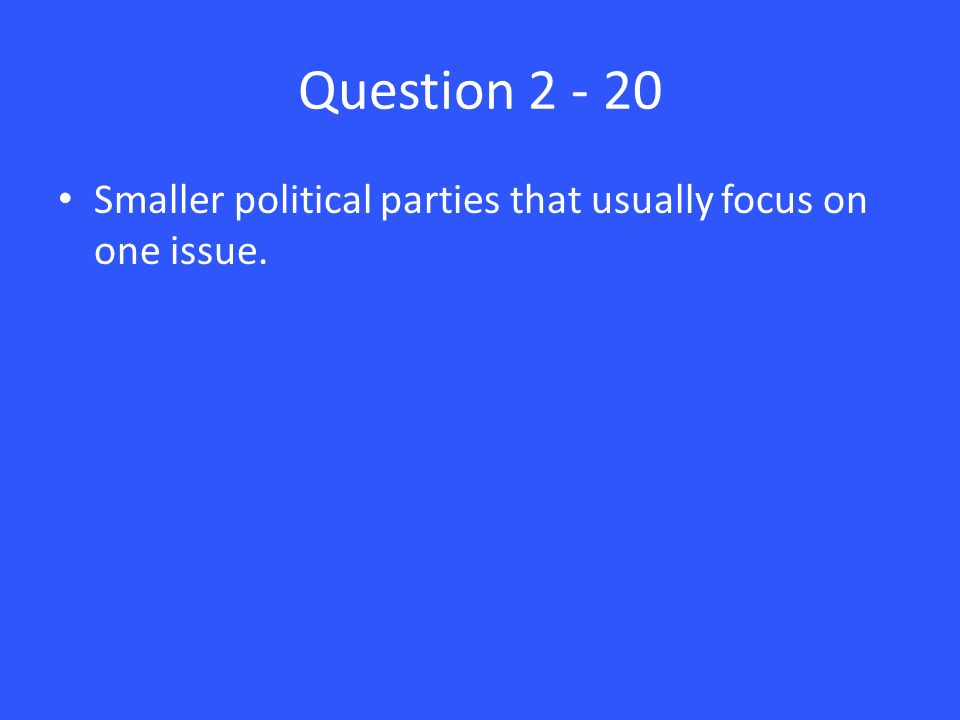 Question Smaller political parties that usually focus on one issue.