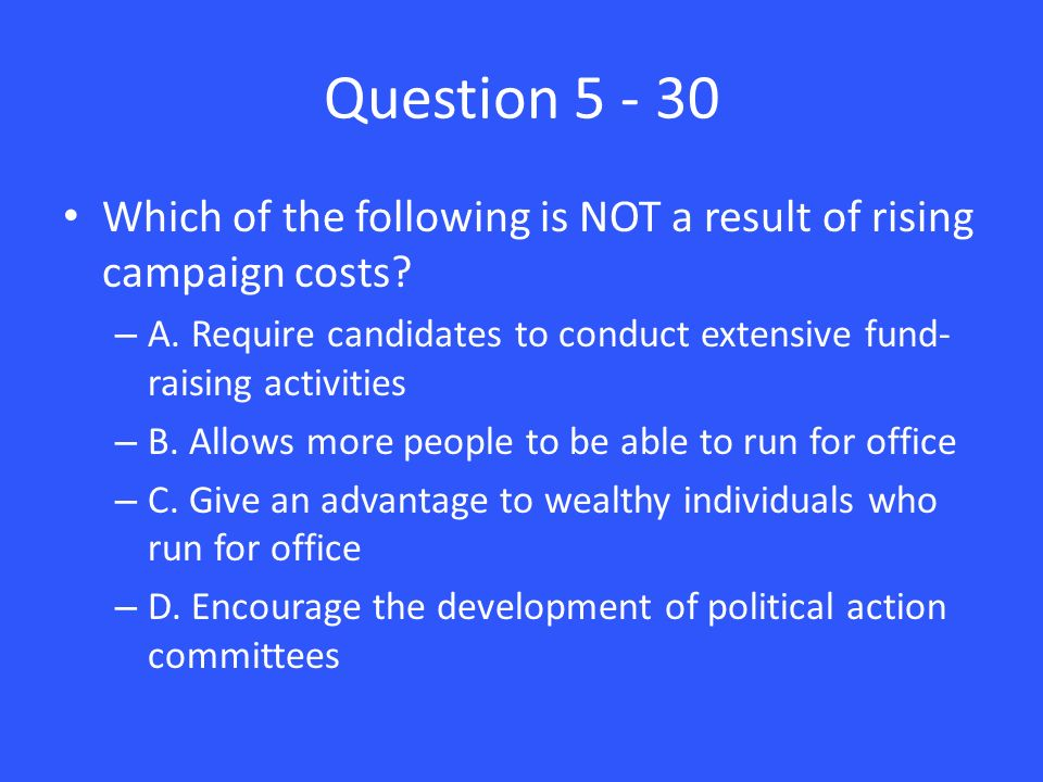 Question Which of the following is NOT a result of rising campaign costs.