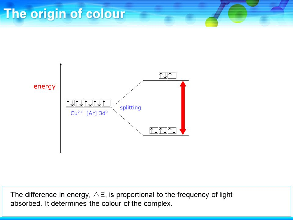 The difference in energy,  E, is proportional to the frequency of light absorbed.