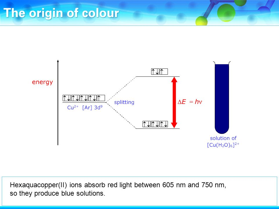 Hexaquacopper(II) ions absorb red light between 605 nm and 750 nm, so they produce blue solutions.