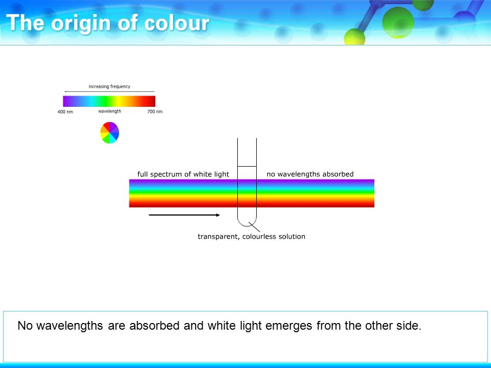 No wavelengths are absorbed and white light emerges from the other side.