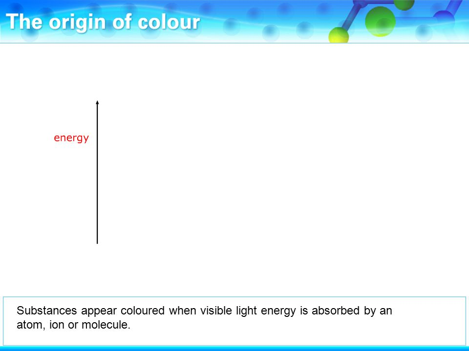 Substances appear coloured when visible light energy is absorbed by an atom, ion or molecule.
