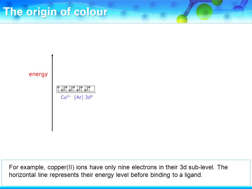 For example, copper(II) ions have only nine electrons in their 3d sub-level.