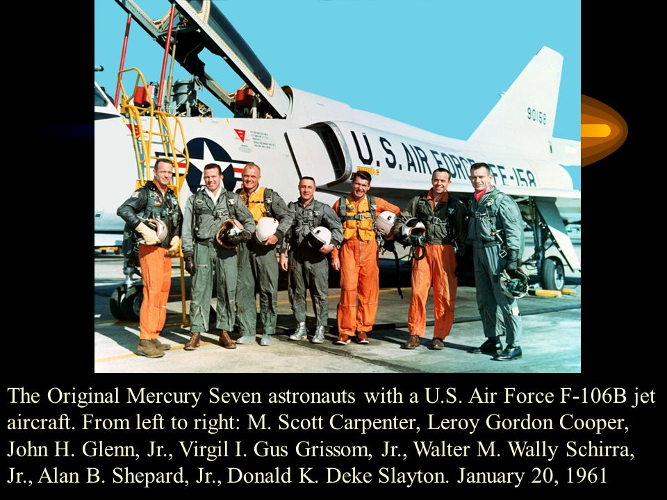 The Original Mercury Seven astronauts with a U.S. Air Force F-106B jet aircraft.