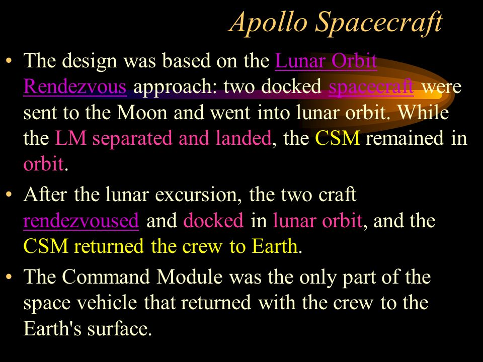 The design was based on the Lunar Orbit Rendezvous approach: two docked spacecraft were sent to the Moon and went into lunar orbit.