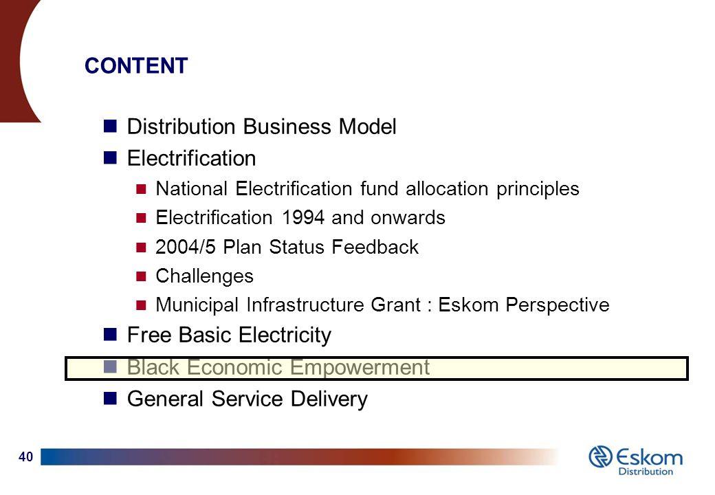 1 Eskom : Distribution Division (Electrification) Select