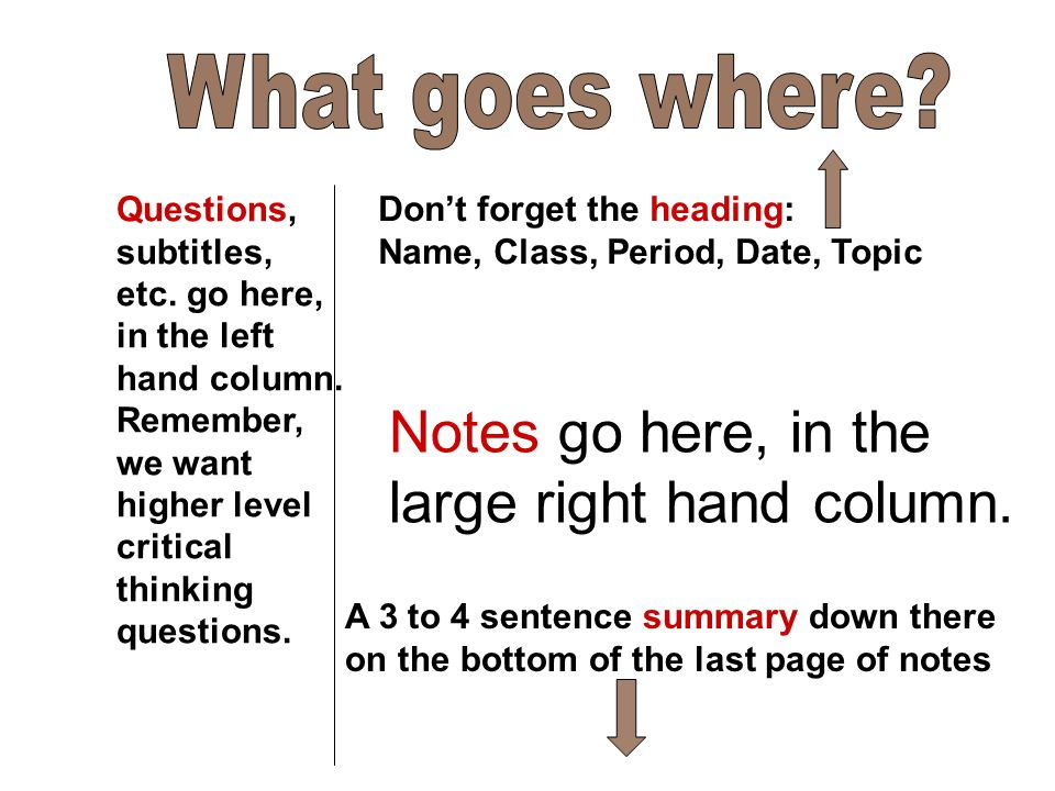 Notes go here, in the large right hand column. Questions, subtitles, etc.