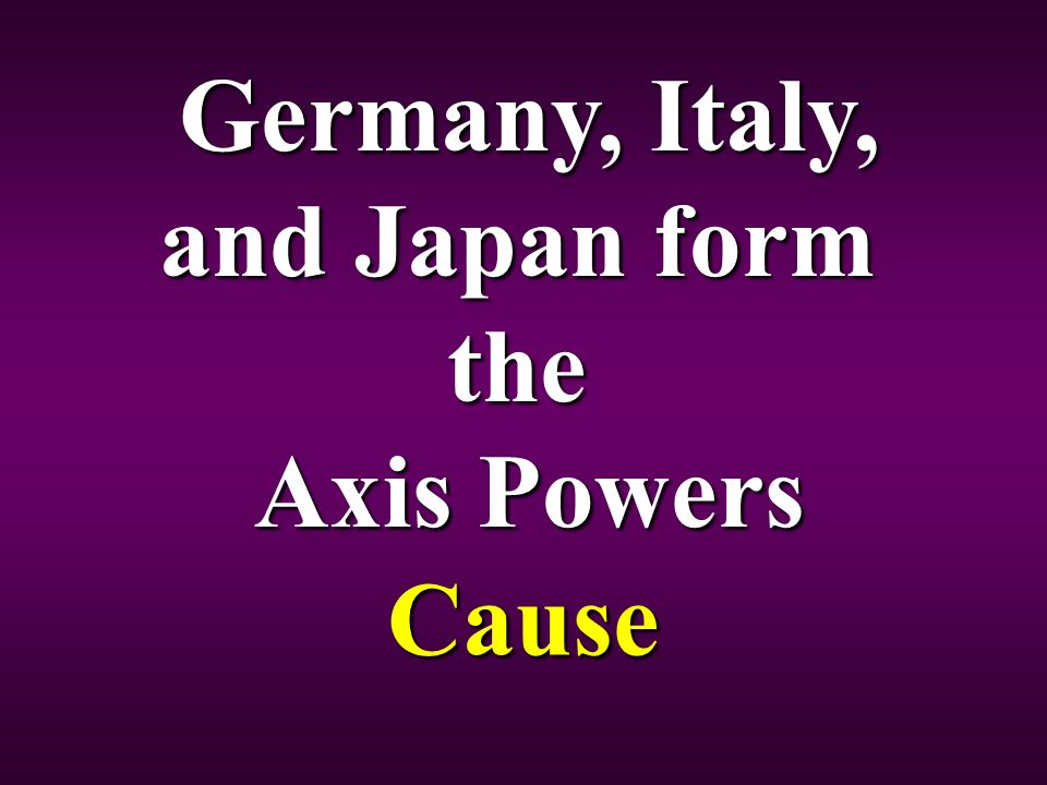 Germany, Italy, and Japan form the Axis Powers Cause