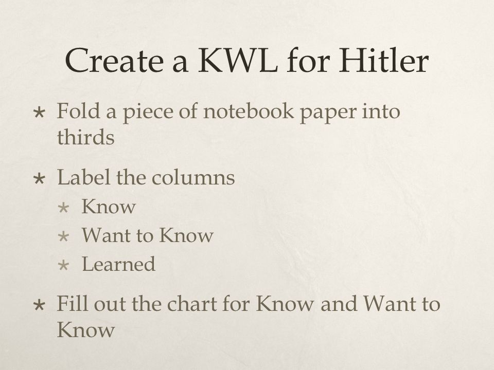 Create a KWL for Hitler  Fold a piece of notebook paper into thirds  Label the columns  Know  Want to Know  Learned  Fill out the chart for Know and Want to Know