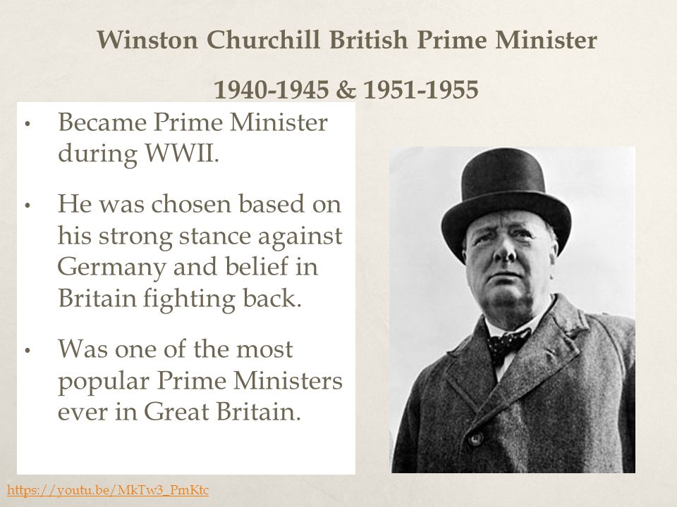 Winston Churchill British Prime Minister & Became Prime Minister during WWII.