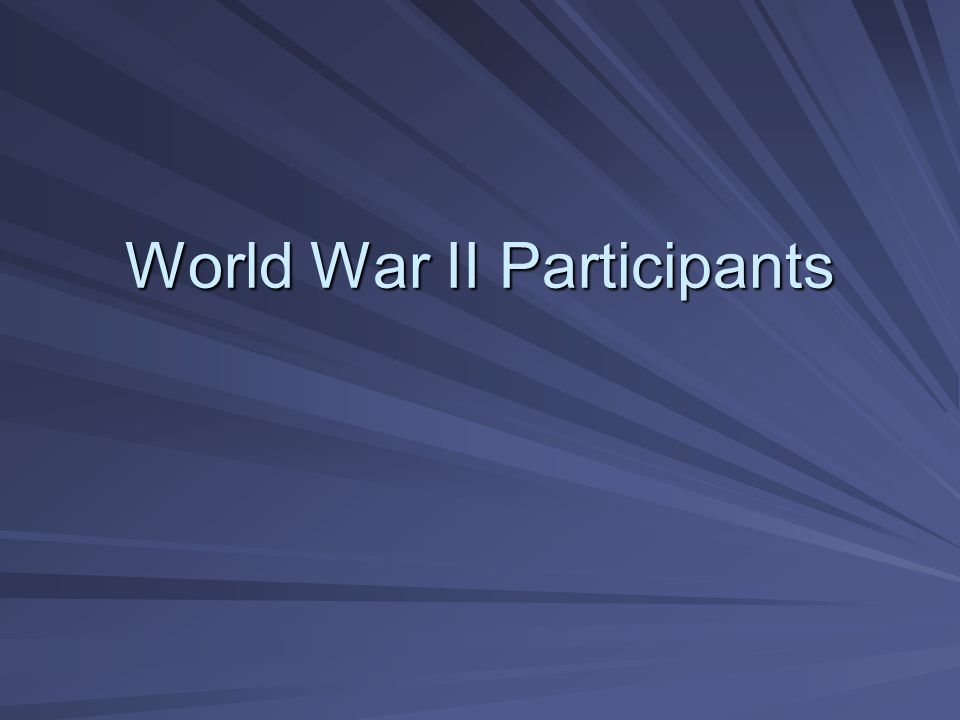 World War II Participants