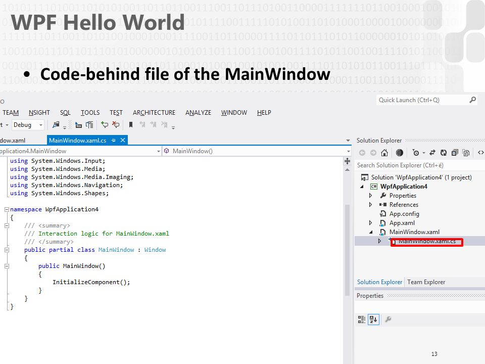V 1 0 Programming III  Comparison of GUI APIs WPF Hello World UI
