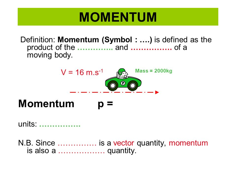 Momentum Definition Momentum Symbol Is Defined As The