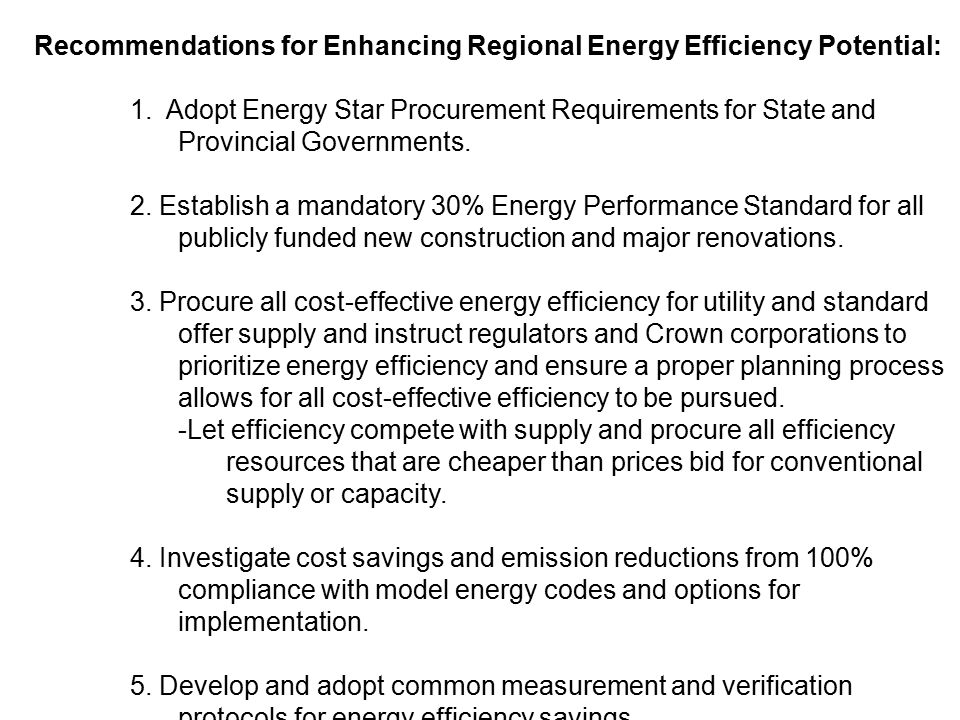 Recommendations for Enhancing Regional Energy Efficiency Potential: 1.