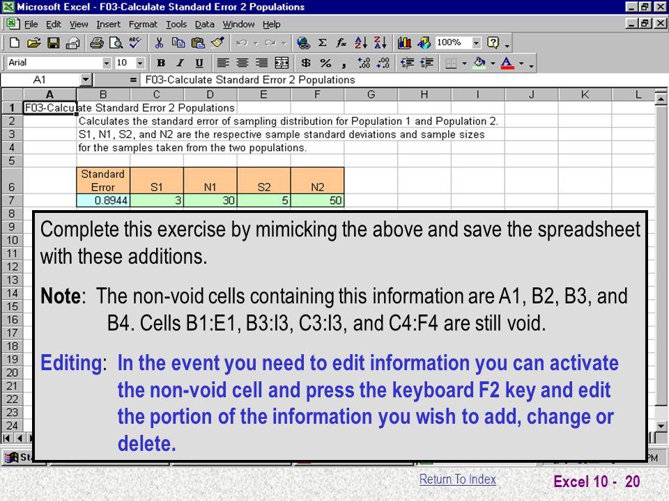 Return To Index Excel Microsoft Excel Basics Lesson 10 Adding