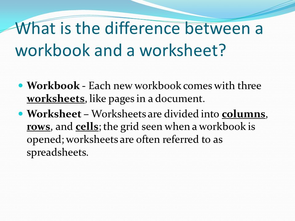 Learning Objectives What is a spreadsheet and what is the difference ...