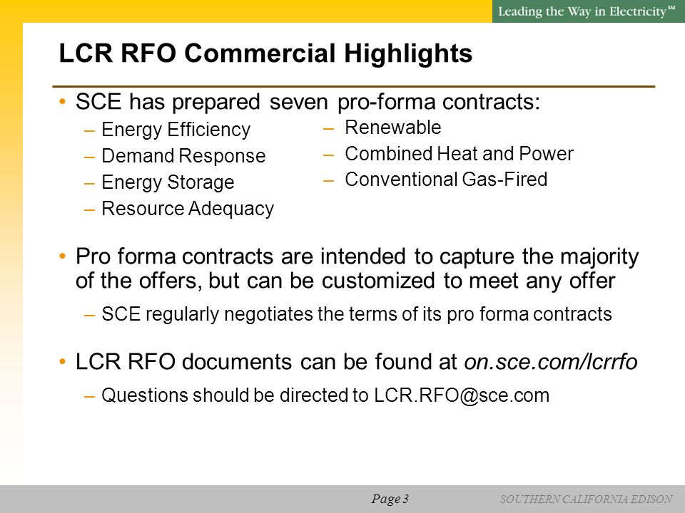 SOUTHERN CALIFORNIA EDISON SM Local Capacity Requirements (LCR) RFO