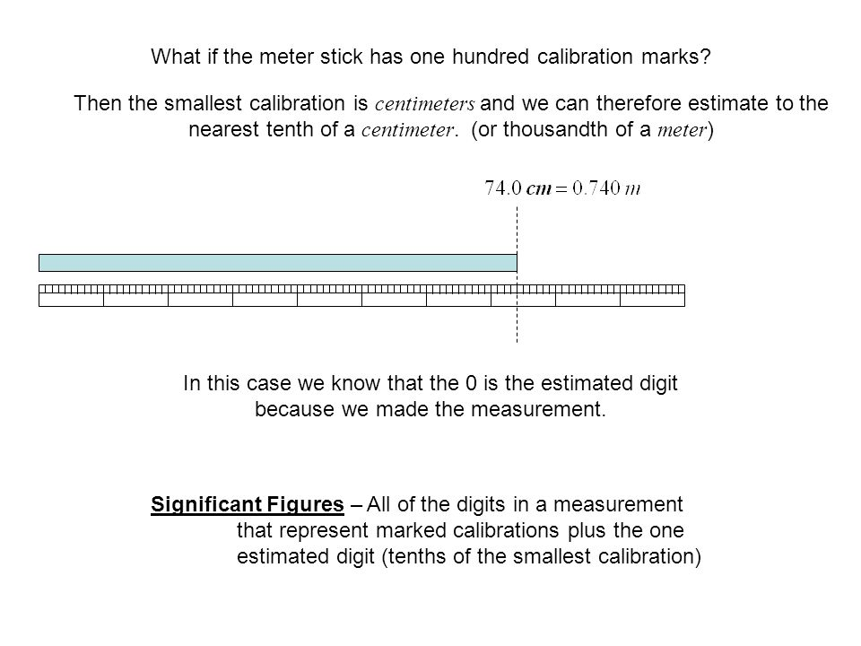 What if the meter stick has one hundred calibration marks.