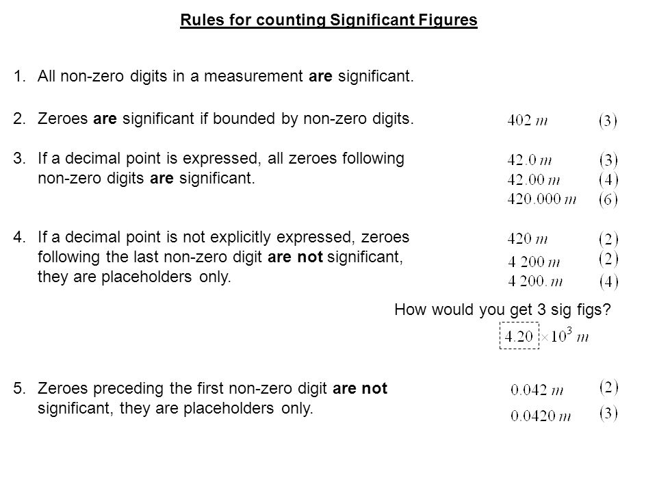 Rules for counting Significant Figures 1.All non-zero digits in a measurement are significant.