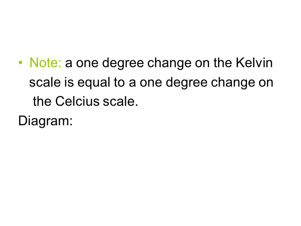 Note: a one degree change on the Kelvin scale is equal to a one degree change on the Celcius scale.